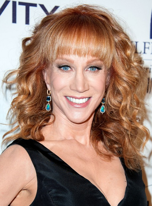 Kathy Griffin Long Red Curly Hairstyle for Thick Hair