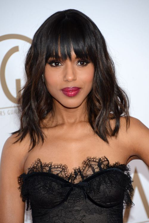 Kerry Washington Layered Medium Wavy Hairstyle with Bangs for Thick Hair