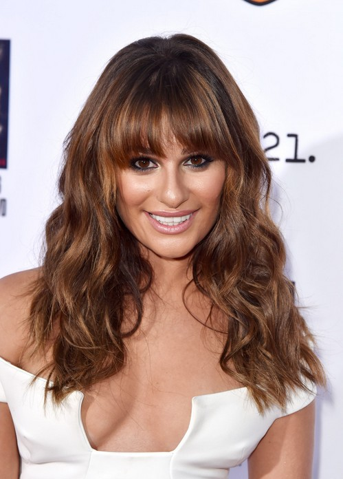 Lea Michele Long Thick Coarse Hairstyle with Full Bangs