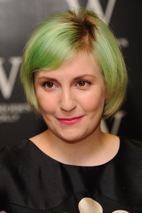 Lena Dunham Short Green Bob Hairstyle for Thick Hair