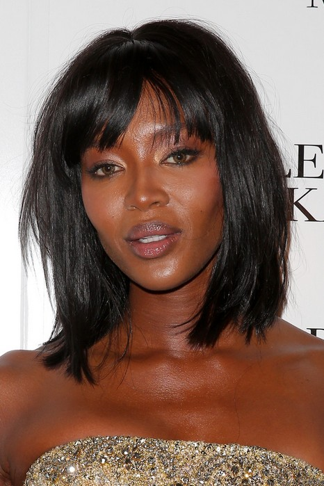 Naomi Campbell Medium Thick Hairstyle for Black Women