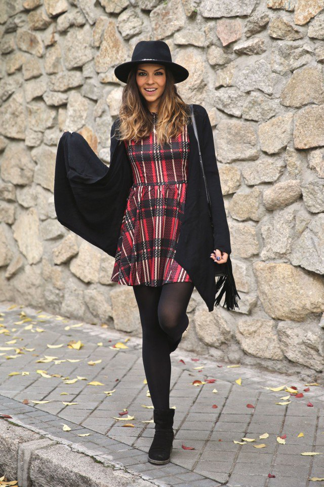 Plaid Dress and Black Coat for 2015