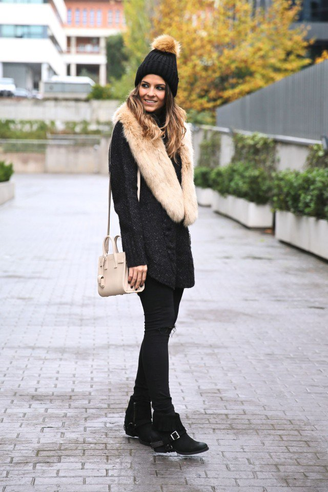 Pretty Fur Collar Outfit Idea