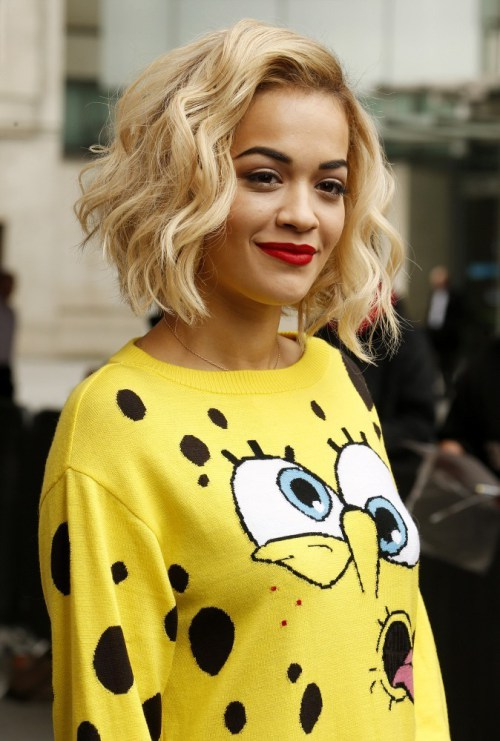 Rita Ora Cropped Choppy Bob Hairstyle for Thick Hair