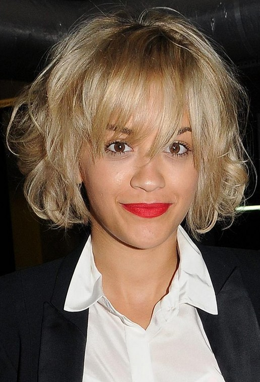Rita Ora Short Messy Bob Hairstyle with Full Bangs