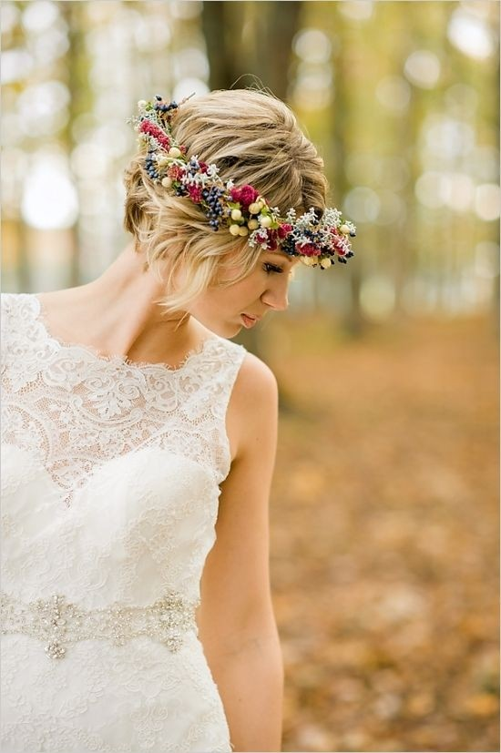 Updo Hairstyles with Floral Headband - Swanky Wedding Updos for Short Hair