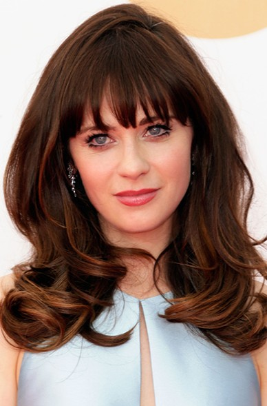 Zooey Deschanel Layered Hairstyle for Thick Hair