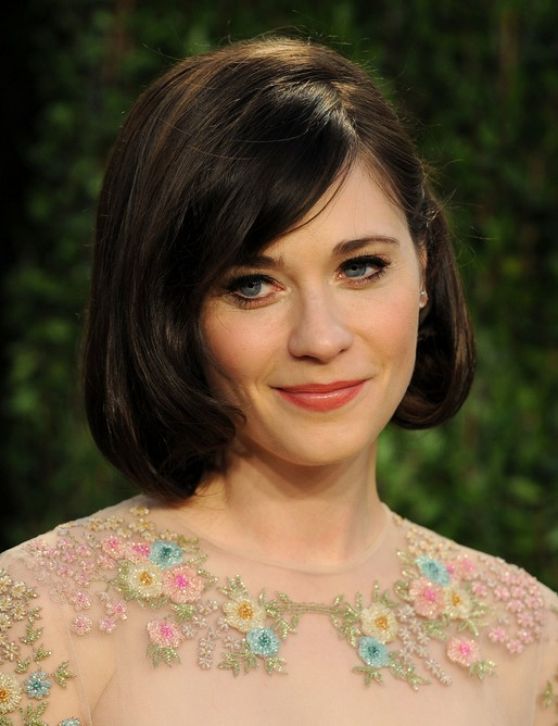Hairstyles For Short Layered Hair With Side Bangs : ... Deschanel Short Layered Bob Hairstyle with Side Bangs for Thick Hair
