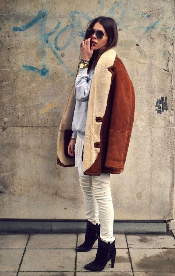 2015 Chic Outfit Idea with Shearling Coat