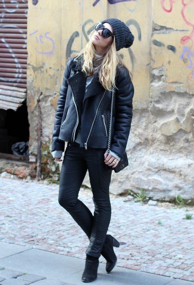 All Black Outfit Idea with Shearling Jacket