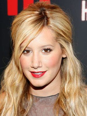 Ashley Tisdale Red Lips and Rosy Cheeks