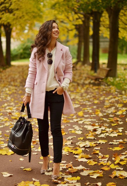 Baby Pink Winter Coat Outfit Idea for 2015