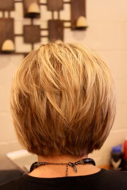 Back View of Layered Stack Bob Haircut