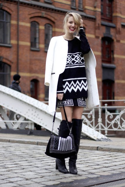 Beautiful Black and White Outfit Idea for 2015