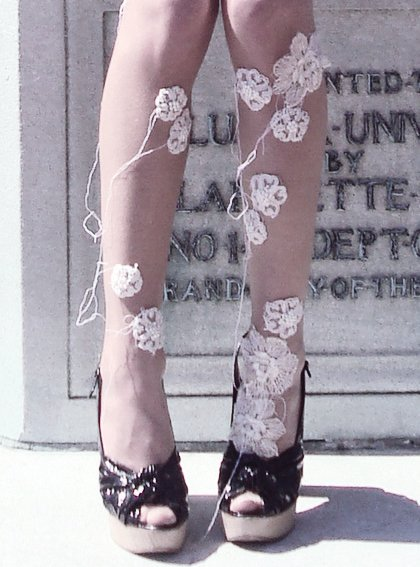 Beautiful DIY Floral Tights