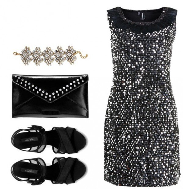 Black Sequined Dress Outfit for Party