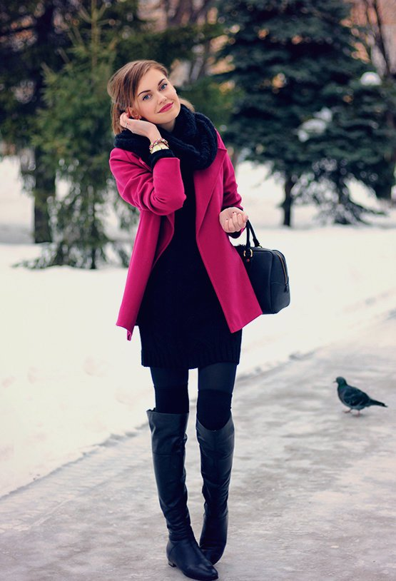 Black Winter Dress with Red Coat