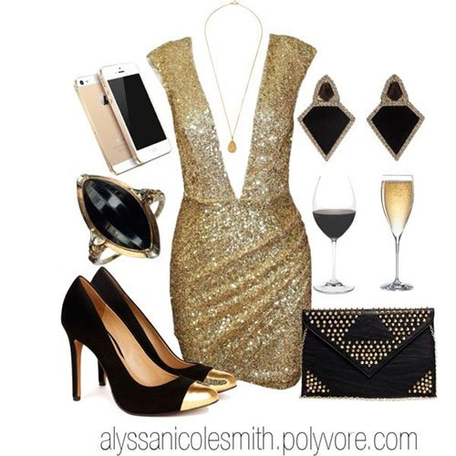 Black and Gold Outfit Idea for Holiday