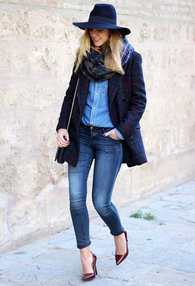 Blue Tweed Coat Outfit Idea