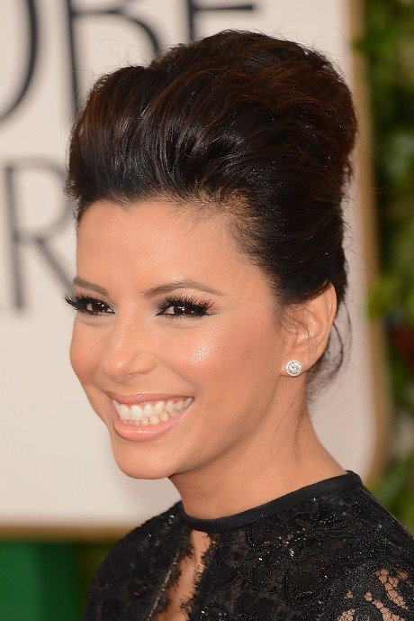 Bouffant Updo Hairstyle and Smoky Eye Makeup