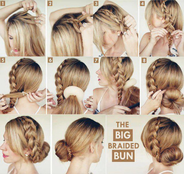 Braided Hairstyle with Low Bun Hairstyle