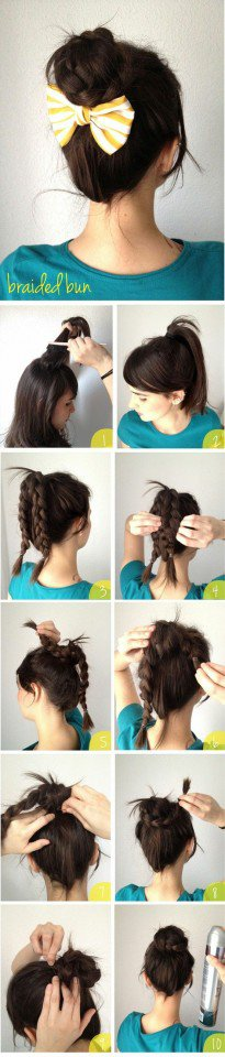 Braided Updo Hairstyle with A Bow Tutorial