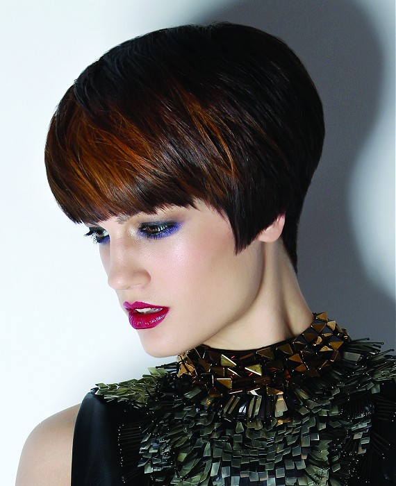 Brown Short Hair with Golden Highlight