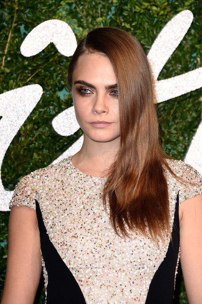 Cara Delevingne Side Sweep Hairstyle