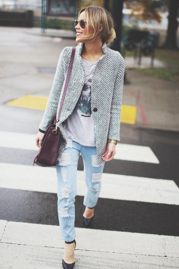 Casual Tweed Outfit Idea