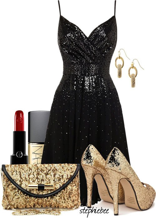 Chic Black and Golden Outfit Idea for New Year Party