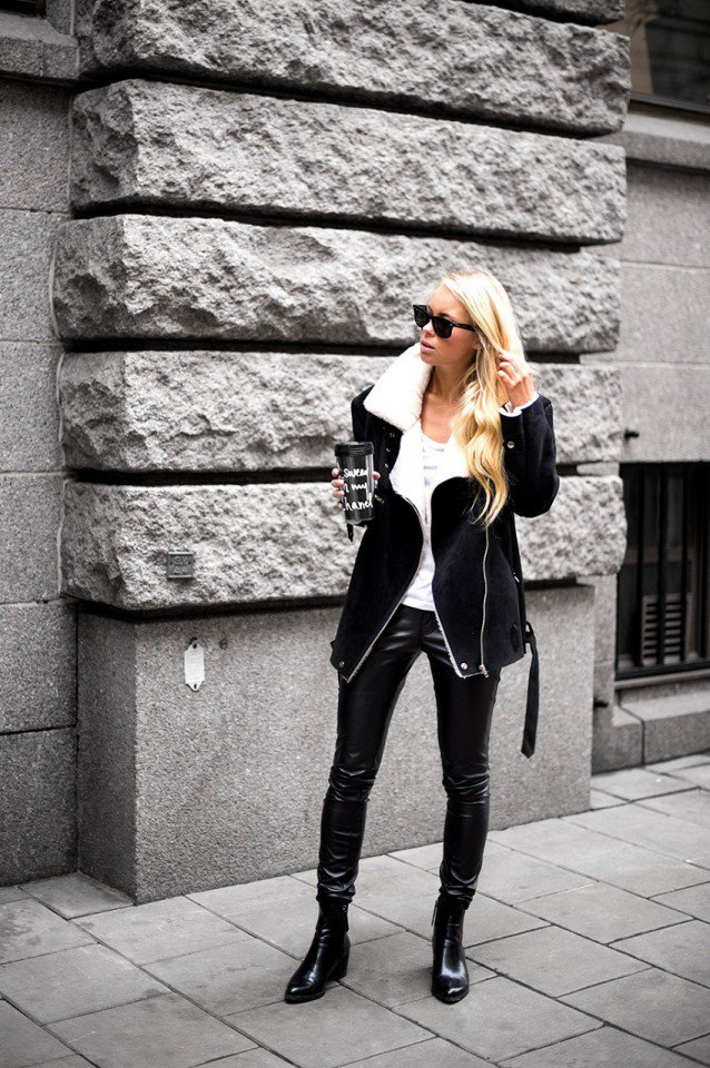 Chic Outfit Idea with Shearling Jacket