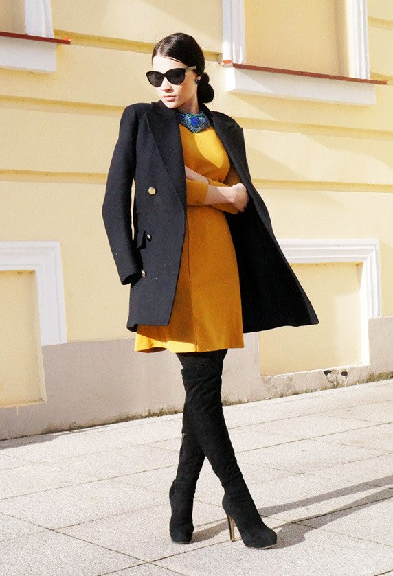 Chic Winter Dress Outfit Idea
