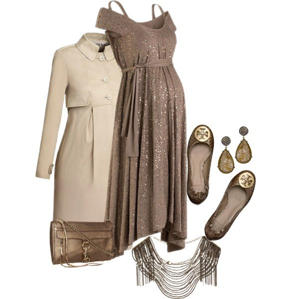 Coffee Sequined Dress Outfit for Party