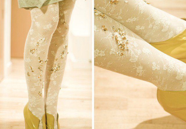 DIY Crystal Embellished Tights