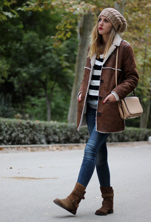 Dark Brown Outfit with Shearling Jacket