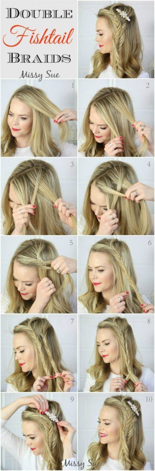 Double Fishtail Braids Hairstyle Tutorial