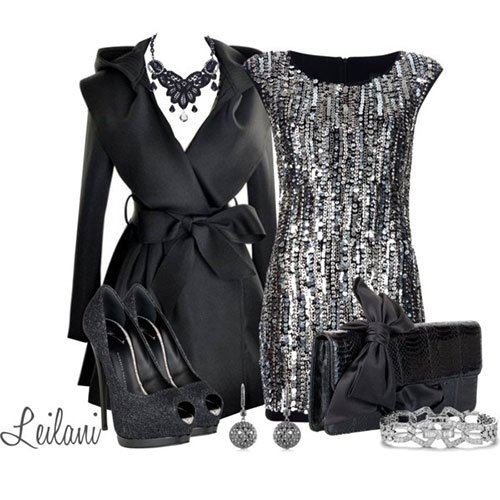 Glitter Black Dress for New Year Party