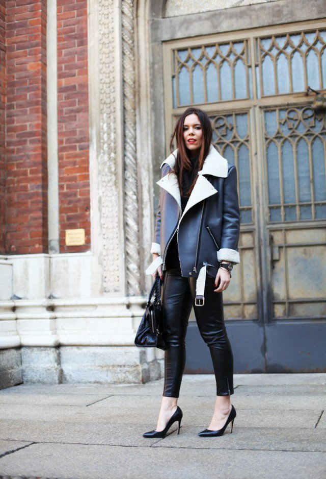 Gorgeous Shearling Jacket Outfit Idea