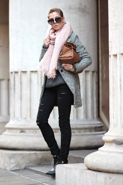 Grey Tweed Coat Outfit Idea for 2015