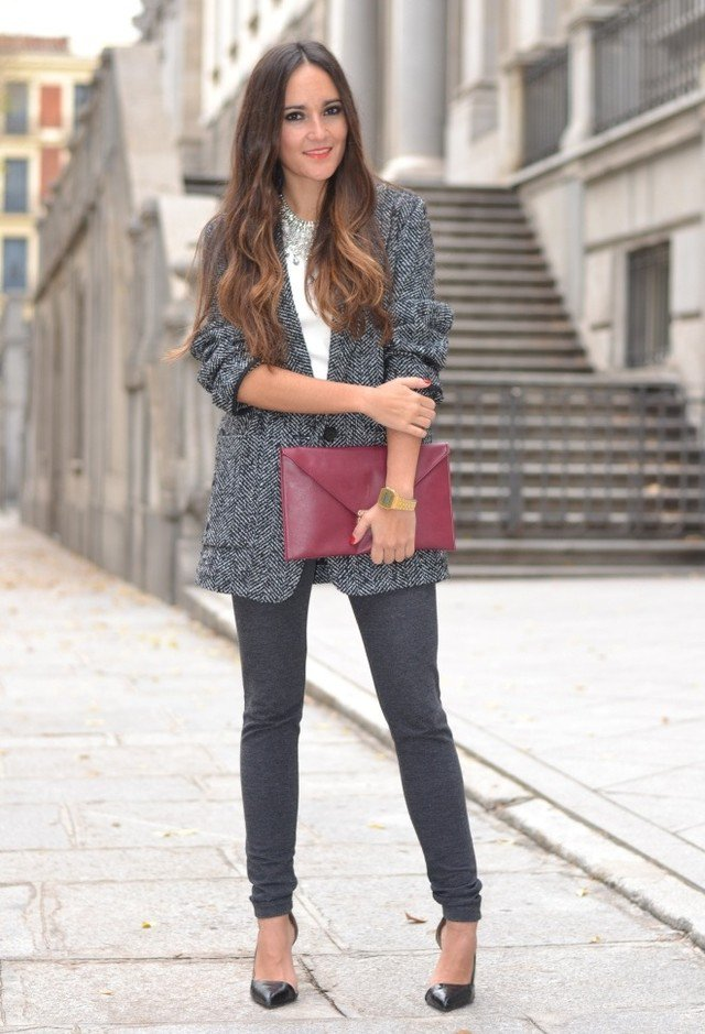 Grey Tweed Coat Outfit