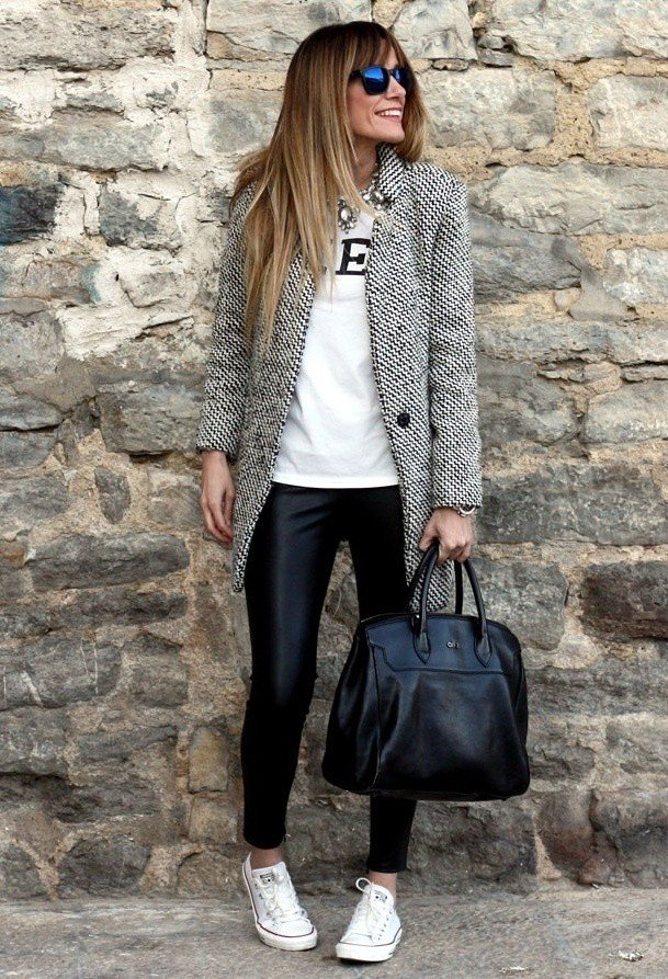 Grey Tweed Coat with Black Leather Pants