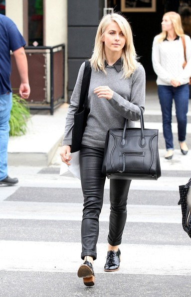 Julianne Hough Casual Chic Leather Pants Outfit