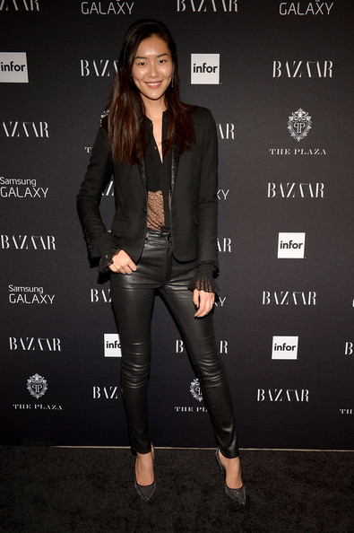 Liu Wen Casual Chic Leather Pants Outfit