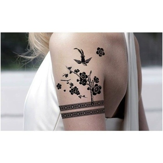 Lovely Flower and Swallow Tattoo