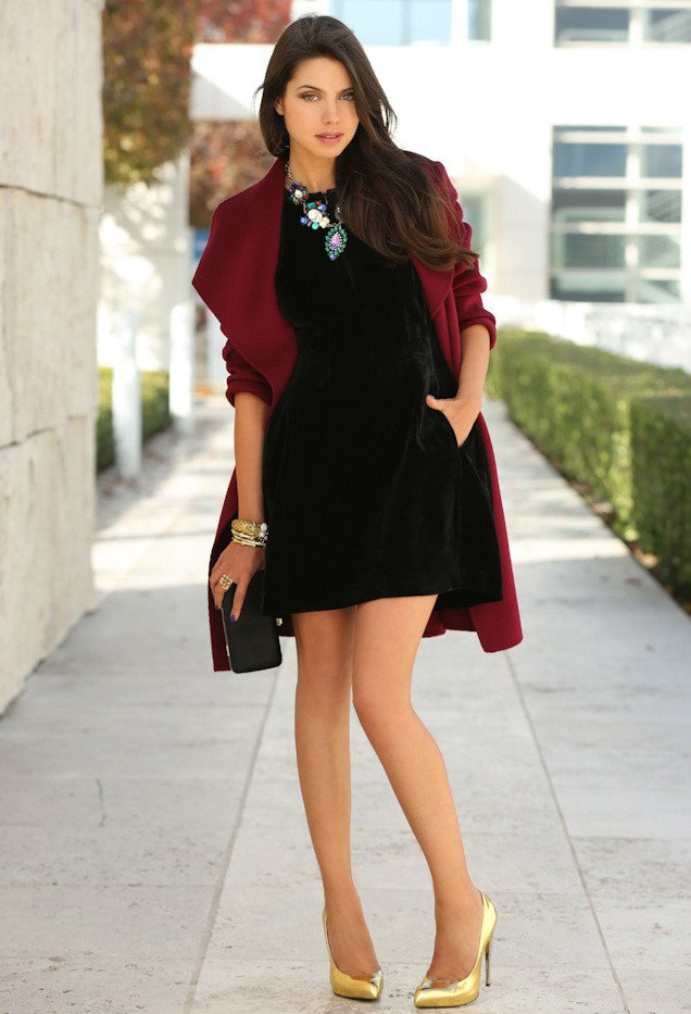 Maroon Winter Coat with Black Dress | Styles Weekly