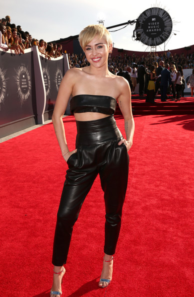 Miley Cyrus Edgy Black Leather Pants Outfit
