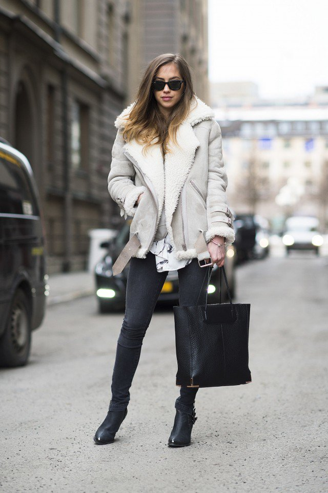Winter 2015 Fashionable Outfit Ideas With Shearling Jackets Styles
