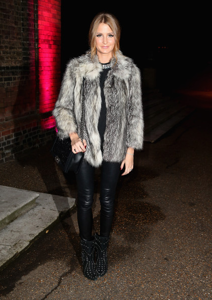 Millie Mackintosh Leather Pants Outfit with Fur Coat