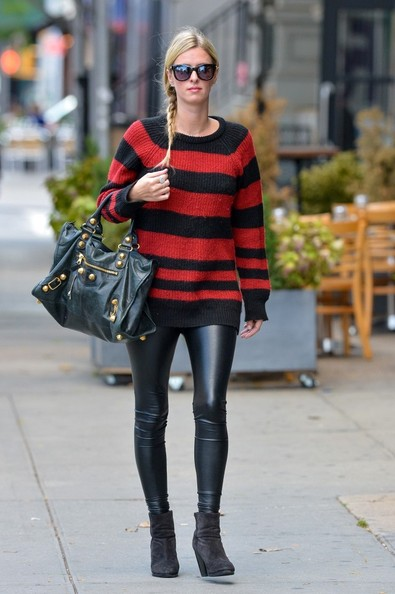 Nicky Hilton Casual Leather Pants Outfit