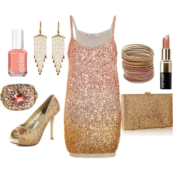 Ombre Golden Sequined Dress Outfit for Holiday